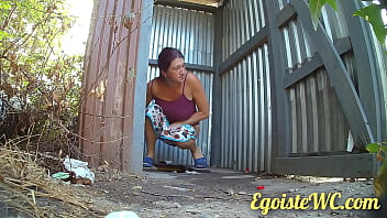 NEW! Beautiful pissing in a rural toilet in the fresh air.
