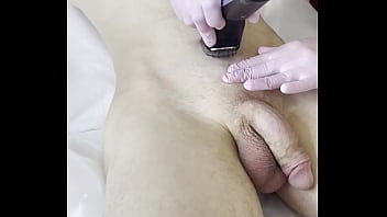 SugarNadya showed how to properly shave the scrotum, but the client could not stand it and powerfully cum  - 69VClub.Com