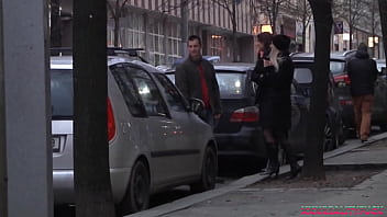 Uma and Jena picking up stranger on the streets to have sex in the car, facial cum included