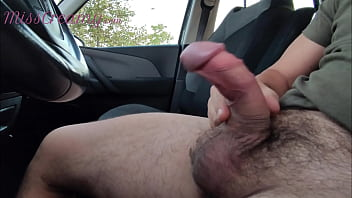 Dick flash - Girl caught me jerking off in the car and help me cum - MissCreamy
