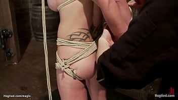 Busty hogtied lesbian squirt on fist