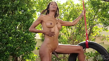 (Riley Mitchel) Watches Hot (Natassia Dreams) On The Swing All He Thinks About Is Her Tight Ass - Trans Angels 10 min