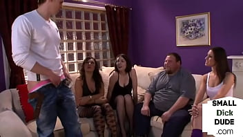Dominas humiliating tiny dick loser in group with handjob