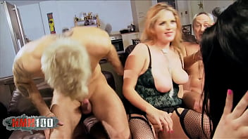 Foursome With Two Horny Busty Milf Sluts