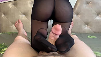 I pulled off my wife's pantyhose and fucked her in a creamy pussy