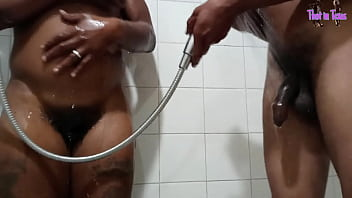 Thot in Texas - African American Cousins Fuck Bust a Nut in Shower Step Daughter Pussy While Wife is Away