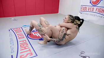 Lesbian Wrestling And Eating Pussy As Red August Wrestles Song Lee Before Being Strapon Fucked