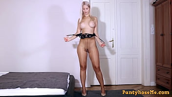 Blonde Big Tit Hottie Sharon White Getting Off In Shiny Tan Pantyhose