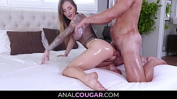 Greased Hot MILF Anal Fuckery