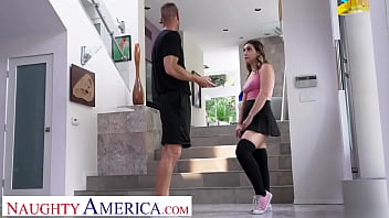 Naughty America - Bonde hottie with pierced nipples Lexi Grey gets paid for by fucking friend's dad