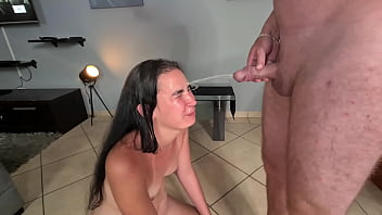 Piss whore getting 2 warm piss facials | slut giving me a blowjob and licks pissing pussy | piss fetish | wet and messy