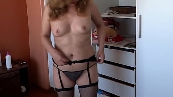 My boss's wife, a very beautiful teacher, shows off in erotic lingerie in front of her students to be fucked, she loves this mature cock