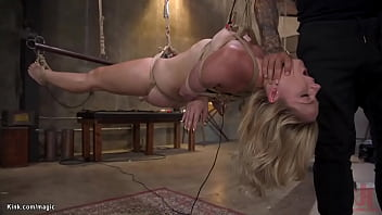 Blond bombshell bound and ass fucked
