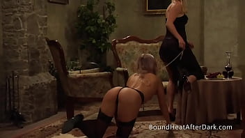 Lesbian Slave On Her Knees Walking With Collar And Leash