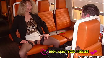 The virgin boy and the flashing milf in train