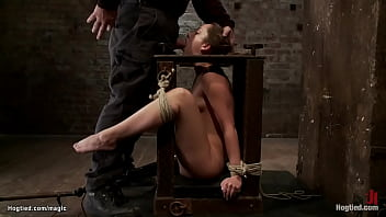 Bound in open framed box mouth fucked