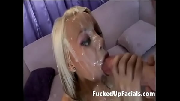 Two Monster Dicks cumshots all over her face