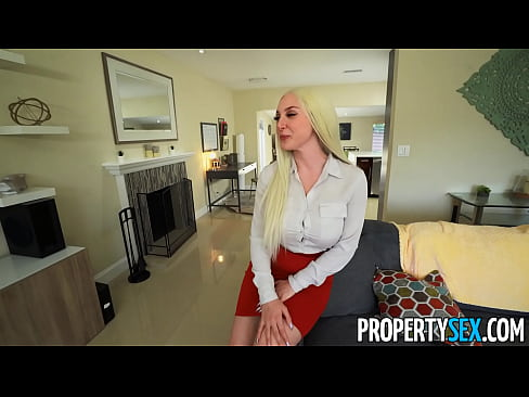 PropertySex Real Estate Agent with Big Natural Tits Bangs Client on Couch